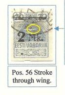 Estland Estonia 1920 Michel 20 ERROR Abart E: 8 (Pos. 56) Auf Urmarke O - Estland