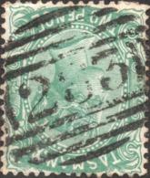 TASMANIA 233 BARRED CANCELLATION On Two Pence QV Stamp, WATERMARK: ( TAS Slanted ) - Usati