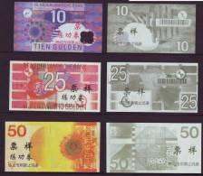 (Replica)China BOC Bank Training/test Banknote,Netherland Holland Gulden B Series 6 Different Notes Specimen Overprint - [6] Fictifs & Specimens
