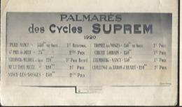 Palmarés  Des Cycles Suprem Année 1920 Publicité Sur Le Cyclisme - Cyclisme
