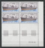 TAAF1993  N° 179 ** Bloc De 4 Coin Daté Neuf MNH Superbe C 9,50 € Bateaux L' Italo Marsano Navire Ships Transports - Tierras Australes Y Antárticas Francesas (TAAF)