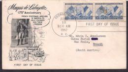 USA - 1952 - FDC - Marquis De Lafayette - Persönlichkeiten