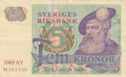 Suède - Billet De 5 Kronor - Gustav Vasa - 1969 AY - P51a - Schweden