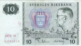 Suède - Billet De 10 Kronor - Gustav VI Adolf - 1972 O - P52c - Schweden