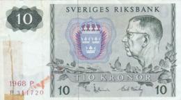 Suède - Billet De 10 Kronor - Gustav VI Adolf - 1968 P - P52b - Schweden