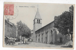 69  -  CPA  De  COURS  -  Attelage  Devant  L ' Eglise    En  1906 - Cours-la-Ville