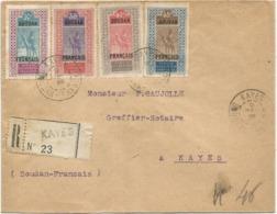 SOUDAN  FRANCAIS 10C+35C+40C+45C LETTRE REC KAYES 1925 POUR KAYES - Sudan (1894-1902)