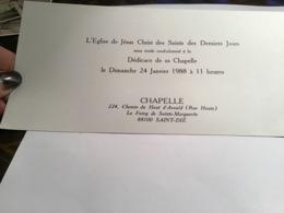 L'église De Jésus-Christ Dessin Des Derniers Jours Dédicace De Sa Chapelle Le Faing De Sainte-Marguerite Indié - Unclassified