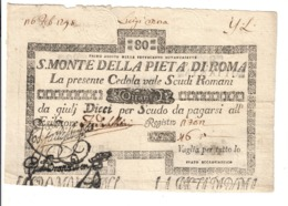 SACRO MONTE DI PIETA' ROMA 01 08 1797 80 SCUDI Ottimo Esemplare Bb+ LOTTO 1606 - [ 9] Collezioni