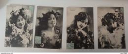 Les 4 Saisons - Lot De 4 Cartes Postales - Printemps: Lilas/Eté: Fruits/Automne: Vendange/Hiver: Gui - Circulées: 1905 - Vrouwen