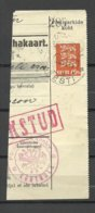 Estland Estonia 1935 Money Card Cut Out O PÄRNU + Pärnu Kontroll Michel 84 + Many Stamps At Back Side - Estonia