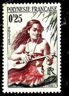 POLYNÉSIE FRANÇAISE 2** 25c Vert-noir, Lilas Foncé Et Rouge Orange Joueuse De Guirare - Polynésie Française