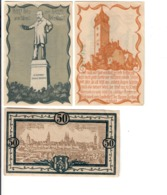 Germania Gemany Notgeld Delitzsch Sassonia 5 + 10 + 50 Pfennig 1919 1920 1921 LOTTO 1376 - Germania