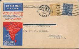 British India 1933 Airmail Cover, CALCUTTA To Buxelles Belgium, Mark Calcutta-Karachi - 11 JLY 1933, 1st Airmail (2975) - 1911-35 King George V
