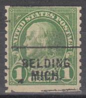 USA Precancel Vorausentwertung Preo, Locals Michigan, Belding 597-703 - Vorausentwertungen
