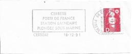 FRANCE. FRAGMENT POSTMARK CERBERE. FLAMME. 1991 - Marcofilia (sobres)