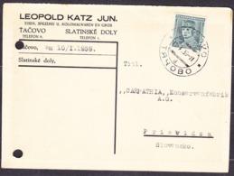 CZECHOSLOVAKIA - CARPATHIA 1939, Company Postal Leaflet ( LEOPOLD KATZ JUN., SLATINSKE DOLY - TACOVO, TACIV ) - Carpatho-Ukraine