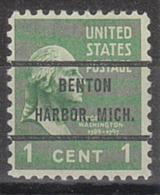 USA Precancel Vorausentwertung Preo, Bureau Michigan, Benton Harbor 804-72 - Vorausentwertungen
