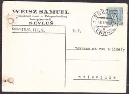 CZECHOSLOVAKIA - CARPATHIA 1939, Company Postal Leaflet ( WEISZ SAMUEL, WINE WHOLESALE - SEVLUS, VYNOHRADIV ) - Transkarpatië