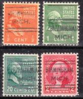 USA Precancel Vorausentwertung Preo, Locals Michigan, Birmingham 632, 4 Diff. - Vorausentwertungen