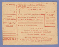 P.T.T. ALGÉRIE POSTE AUX ARMÉES 1959 MANDAT CARTE CHEQUES POSTAUX REDEVANCE RADIODIFFUSION TÉLÉVISION FRANCAISE - Documents De La Poste
