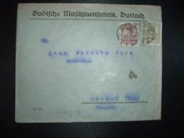LETTRE TP GERMANIA 60 + 15 Perforés B M OBL.9-10 21 DURLACH + BADISCHE MESCHINENFABRIK - Deutschland
