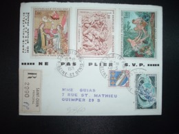 LR TP BOUCHER 1,00+ CARPEAUX 1,00+ PRIMITIF DE SAVOIE 1,00+ PATINAGE SUR GLACE 0,60+ TROYES 0,10 OBL.28-5 1971 ST OUEN - Marcofilie (Brieven)
