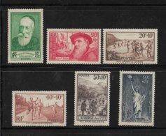 France Timbres De 1937 N°343 A 347 + N°352 Neuf * - France