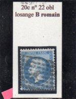 Paris - N° 22 Obl Losange B Romain - 1862 Napoléon III