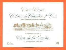 étiquette De Vin Suisse Coteau De Choulex 1er Cru Crève Coeur Cave De La Souche à La Pallanterie Vésenaz - 75 Cl - Vin De Pays D'Oc