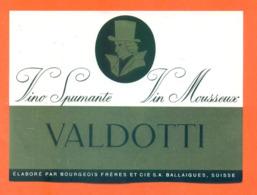 étiquette De Vino Spumante / Vin Mousseux Suisse Valdotti Bourgeois Frères à Ballaigues - 75 Cl - Vin De Pays D'Oc