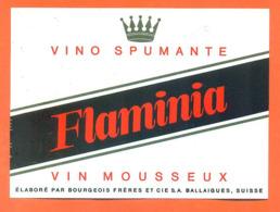 étiquette De Vino Spimante / Vin Mousseux Suisse Flaminia Bourgeois Frères à Ballaigues - 75 Cl - Vin De Pays D'Oc