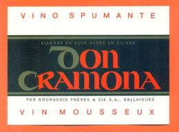 étiquette De Vino Spimante / Vin Mousseux Suisse Don Cramona Bourgeois Frères à Ballaigues - 75 Cl - Vin De Pays D'Oc
