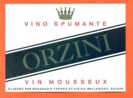 étiquette De Vino Spimante / Vin Mousseux Suisse Orzini Bourgeois Frères à Ballaigues - 75 Cl - Vin De Pays D'Oc