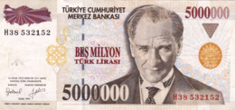 "TURKEY 5000000 LIRA 1997 EXF P-210 ""free Shipping Via Regular Air Mail (buyer Risk)"" - Turchia"