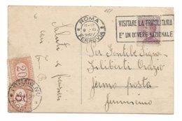 ITALIE 1927 CARTE POSTALE ROME POUR FIUMICINO TAXE POSTE RESTANTE FLAMME VISITER LA TRIPOLITANIE EST UN DEVOIR NATIONAL - 1900-44 Victor Emmanuel III
