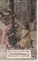 Girls As Angels, Engel, Ange, Angelo, Filles, Mädchen, Traîneau, Sledge, Schlitten, Christmas Tree, Sapin De Noël - Anno Nuovo