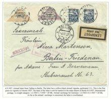 Estland Estonia 1927 Flugpost Brief Nach Berlin Michel 42 A & 52 A Etc + Messevignette At Backside - Estland