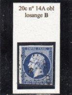 Paris - N° 14A Obl Losange B - 1853-1860 Napoléon III
