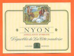 étiquette De Vin Suisse Nyon Vignobles De La Cote Vaudoise Uvavins à Morges - 75 Cl - Vin De Pays D'Oc