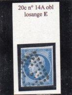 Paris - N° 14A Obl Losange E - 1853-1860 Napoléon III