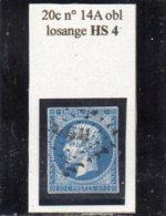 Paris - N° 14A Obl Losange HS4 - 1853-1860 Napoléon III