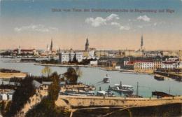 "09655 ""LETTONIA - BLICK VOM TURM DER DREIFALTIGKEITSKIRCHE IN HAGENSBERG AUF RIGA"" ANIMATA, BARCHE. CART   1929 - Letonia"