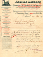 Facture Achille Legrand, Usines :Quaregnon,Blanc-Misseron&Raismes,Savigliano. Chemin De Fer.Mons. - België