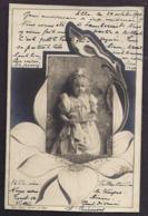 CPA Enfant Jolie Fillette Très élégante à L'éventail - Frise Art Nouveau 1900 - Pretty Girl Photo - Ritratti