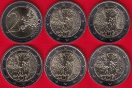 """Germany Set Of 5 Coins: 2 Euro 2019 A, D, F, G, J """"Berlin Wall"""" BiM. UNC - Duitsland"""