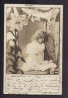 CPA Enfant Jolie Fillette Très élégante Robe Dentelle Poupée - Frise Art Nouveau Lys 1900 - Pretty Girl Photo - Ritratti