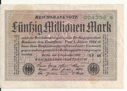 ALLEMAGNE 50 MILLION 1923 VF P 109 - [ 3] 1918-1933 : Repubblica  Di Weimar