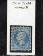 Paris - N° 22 Obl Losange B - 1862 Napoléon III
