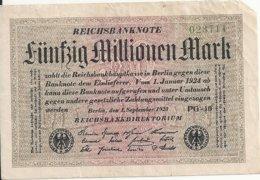 ALLEMAGNE 50 MILLION 1923 VG+ P 109 - [ 3] 1918-1933 : Weimar Republic